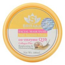 Маска для лица с фильтратом улитки, коллагеном и Q10 Sritana facial mask snail Q10 collagen plus 100 ml.- 175 гр. брутто