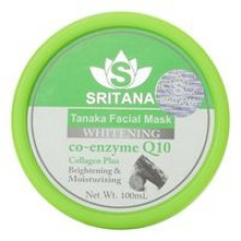 Маска для лица с танакой, коллагеном и Q10 осветляющая Sritana tanaka whitening facial mask Q10 collagen plus 100 ml.- 175 гр. брутто